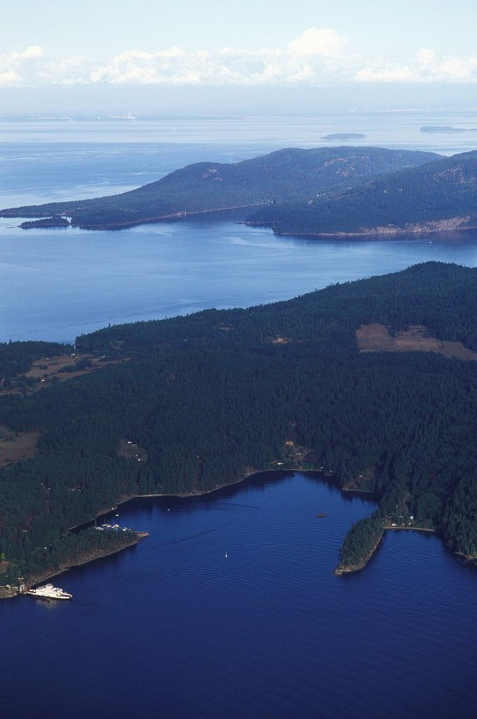 Stock Photo: 1990-23915 Aerial view of Pender Island Ferry terminal at Otter Bay, British Columbia, Canada