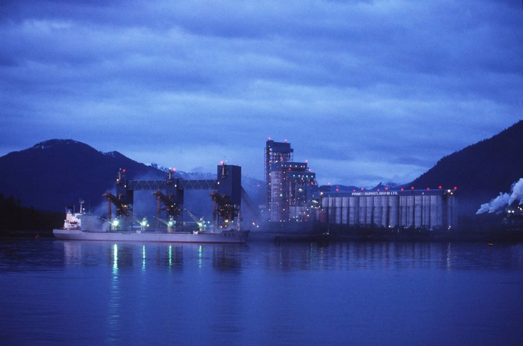 Stock Photo: 1990-23974 Prince Rupert Grain terminals at dusk, British Columbia, Canada