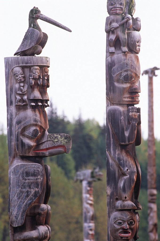 Skeena River area, Kitwancool Gitanyow , Gitxsan totem poles, British Columbia, Canada : Stock Photo
