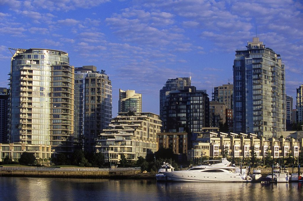 Morning view across False Creek to Concord Pacific condominiums, Vancouver, British Columbia, Canada : Stock Photo