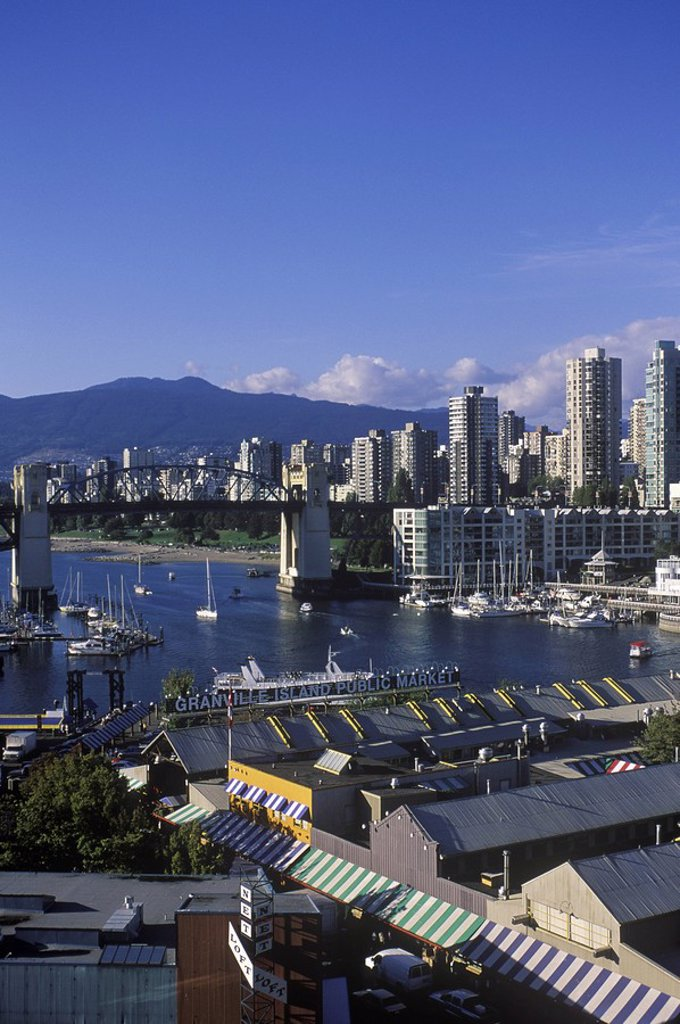 Stock Photo: 1990-24519 View across False Creek to downtown from Granville bridge, Vancouver, British Columbia, Canada