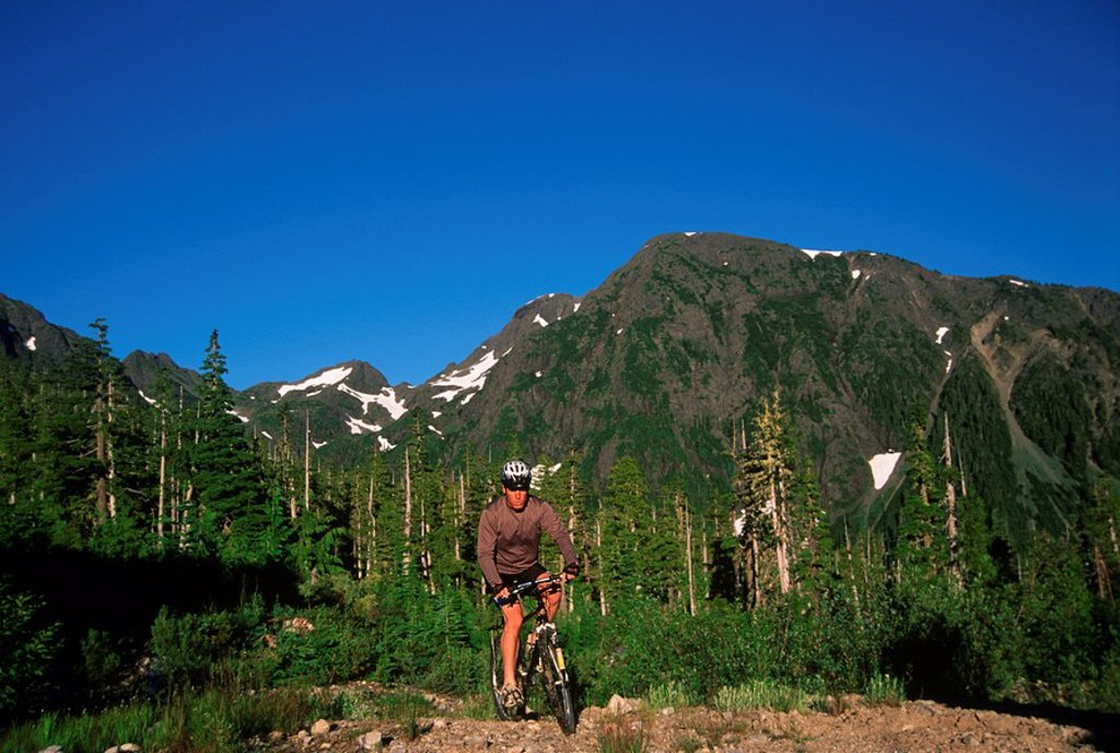 Stock Photo: 1990-24738 Mount Cain - mountain biking, Vancouver Island, British Columbia, Canada