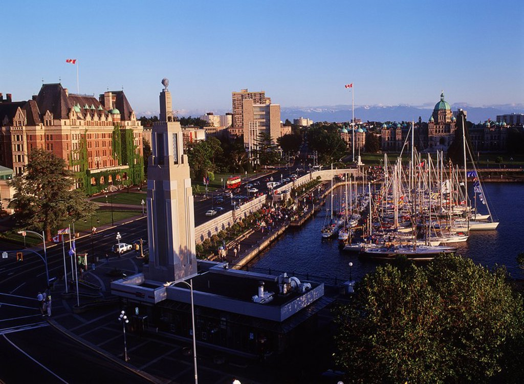 Victoria´s inner harbour with the Parliament Buildings at Swiftsure weekend, Victoria, Vancouver Island, British Columbia, Canada : Stock Photo