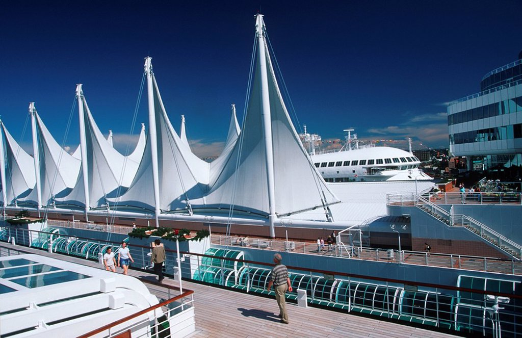View of Canada Place from cruise ship, Vancouver, British Columbia, Canada : Stock Photo