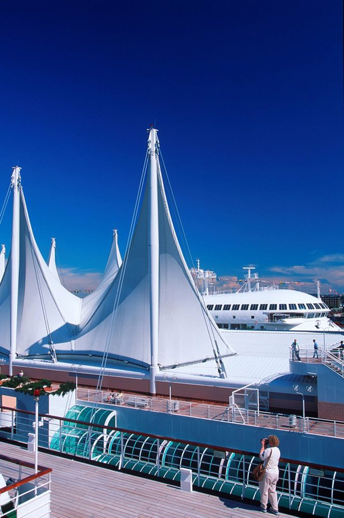 Stock Photo: 1990-25128 View of Canada Place from cruise ship, Vancouver, British Columbia, Canada