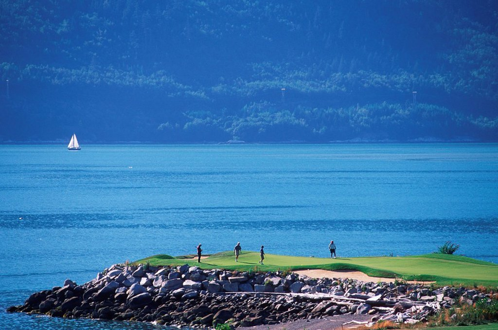 Stock Photo: 1990-25328 Furry Creek Golf Course overlooking Howe Sound, British Columbia, Canada