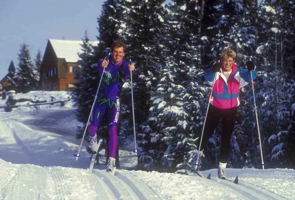 Cross country skiing at 108 Mile Ranch, British Columbia, Canada : Stock Photo