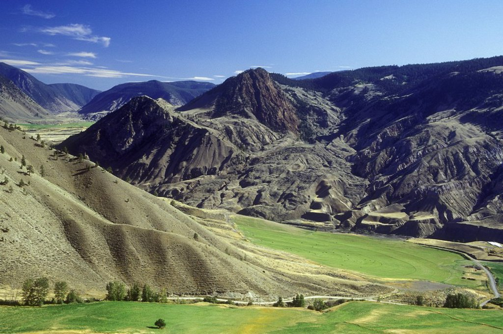 Stock Photo: 1990-25619 Ranchland above Fraser River, British Columbia, Canada