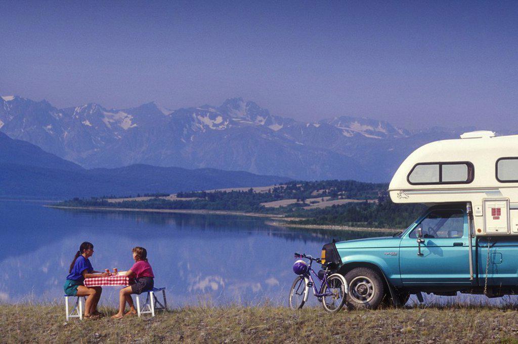 RV camping overlooking Tatlayoko Lake and Coast Mountains, Chilcotin region, British Columbia, Canada : Stock Photo