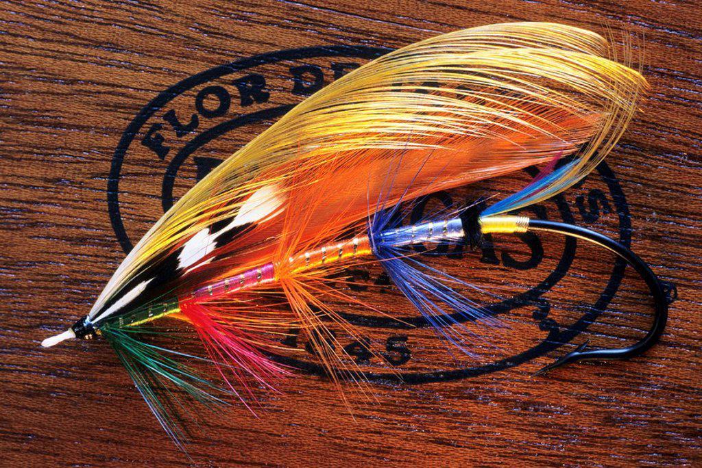 Stock Photo: 1990-26030 Hand tied Atlantic salmon fishing fly, Canada
