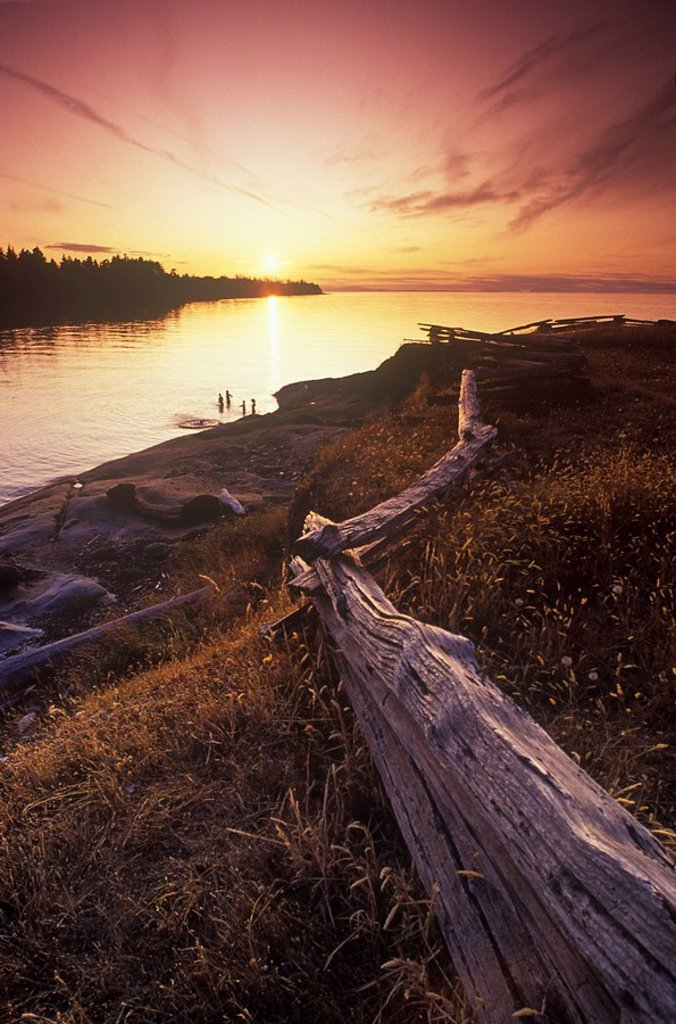 Sunset at whaling Station Bay, Hornby Islands, British Columbia, Canada : Stock Photo