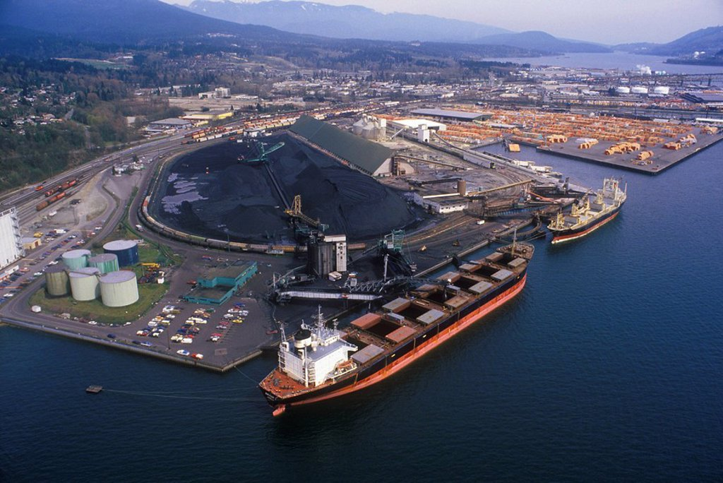 Stock Photo: 1990-26498 Aerial of the Port of Vancouver, British Columbia, Canada