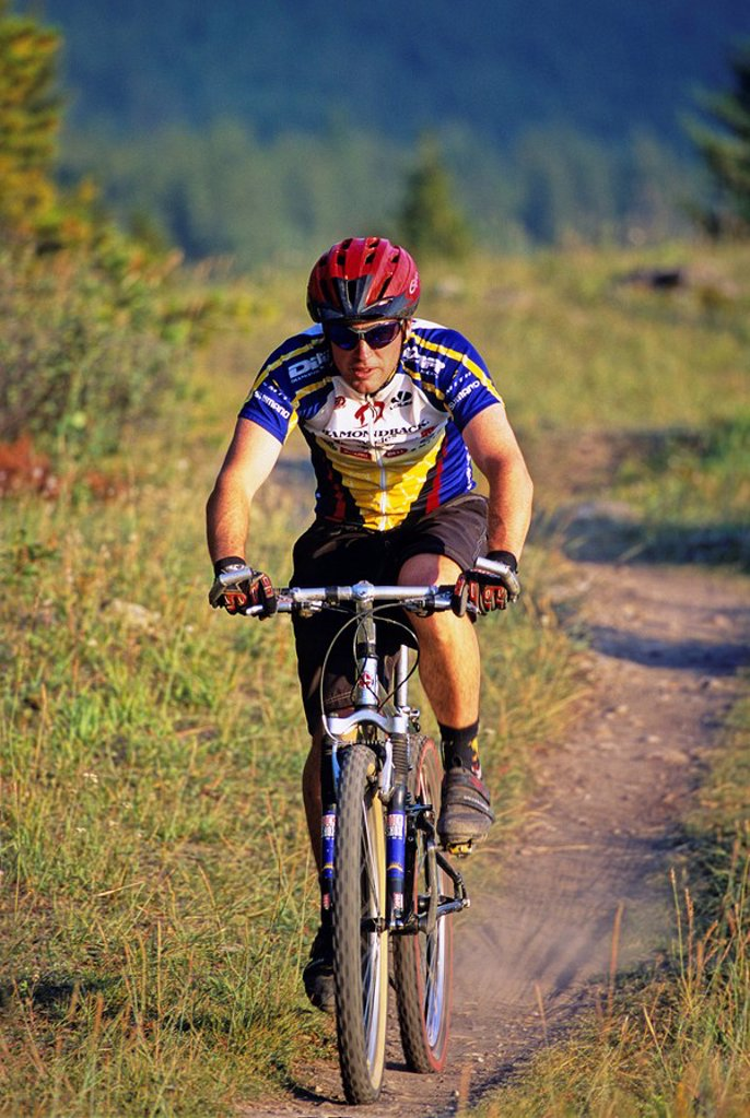 Mountain biker, Canmore, Alberta, Canada : Stock Photo