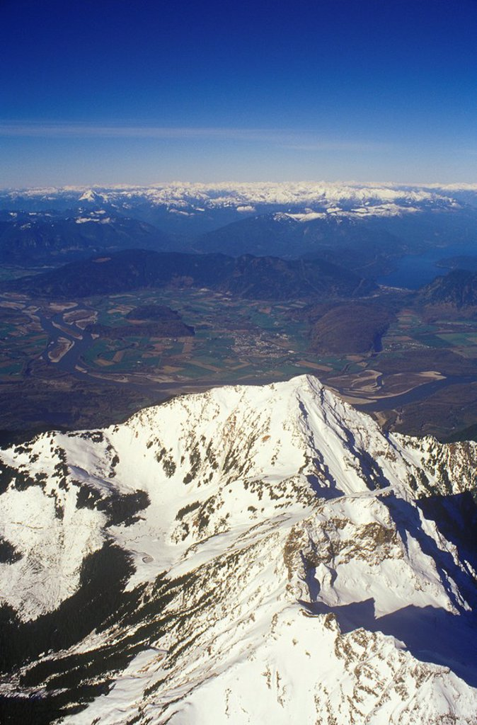 Aerial of Cheam Peak Chilliwack, British Columbia, Canada : Stock Photo