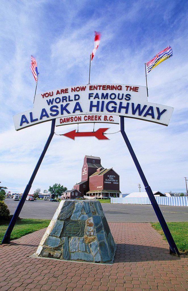 Mile Zero of the famed Alaska Highway, Dawson Creek, northern British Columbia, Canada : Stock Photo