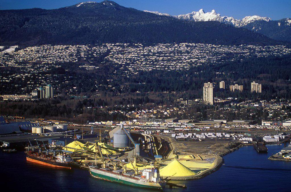 Stock Photo: 1990-27550 Aerial of Vancouver Harbor, British Columbia, Canada