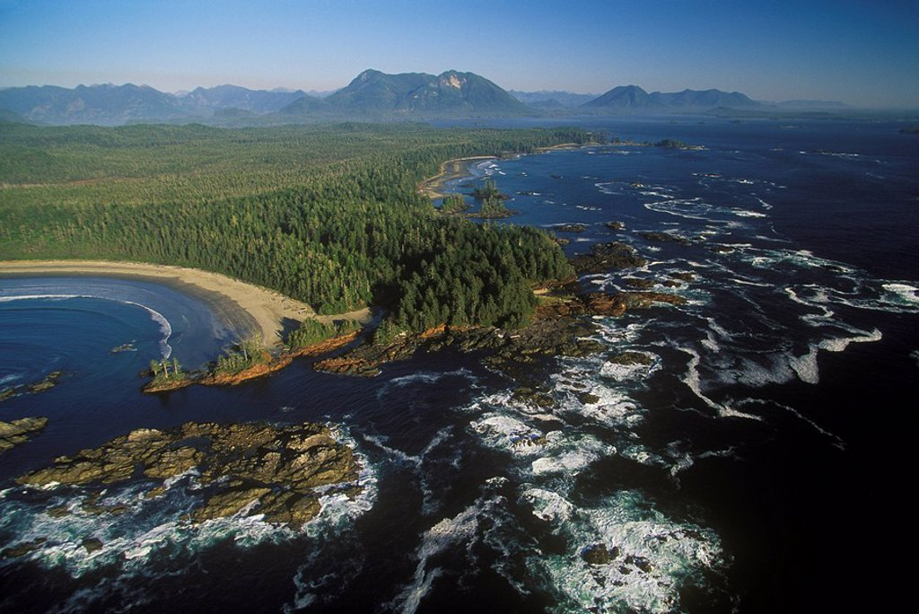 Aerial of Long Beach, Pacific Rim National Park, British Columbia, Canada : Stock Photo