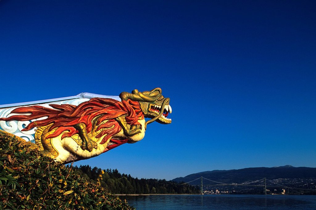 Dragon sculpture in Stanley park, Vancouver, British Columbia, Canada : Stock Photo