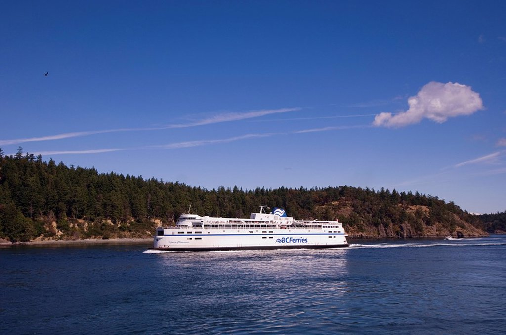 BC Ferry in waters of Georgia Strait, British Columbia, Canada : Stock Photo