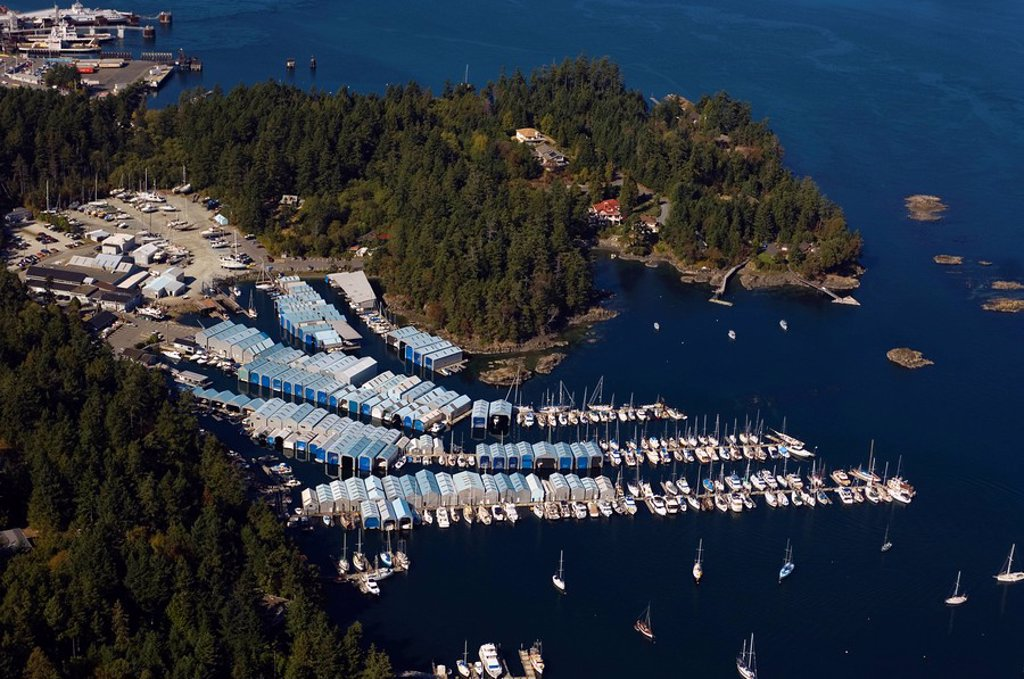 Canoe Cove Marina aerial, near Sidney, Vancouver Island, British Columbia, Canada : Stock Photo