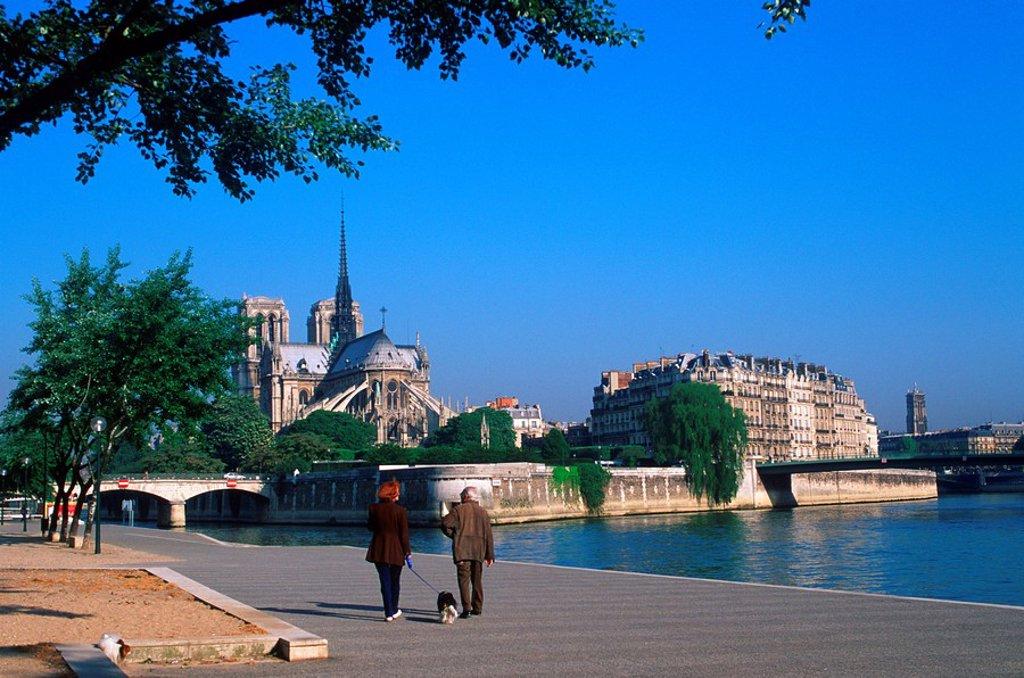 France, Paris - Notre Dame Cathedral along the riviere Seine : Stock Photo