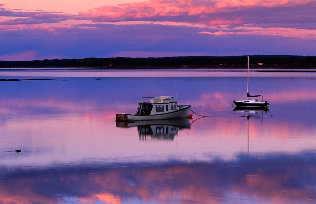 Stock Photo: 1990-3009 Sunset West River Causeway, West River, Prince Edward Island, Canada