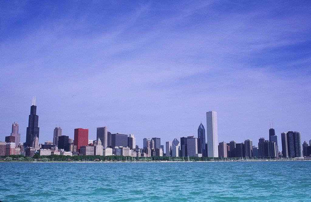 USA, Chicago, skyline from Lake Michigan : Stock Photo