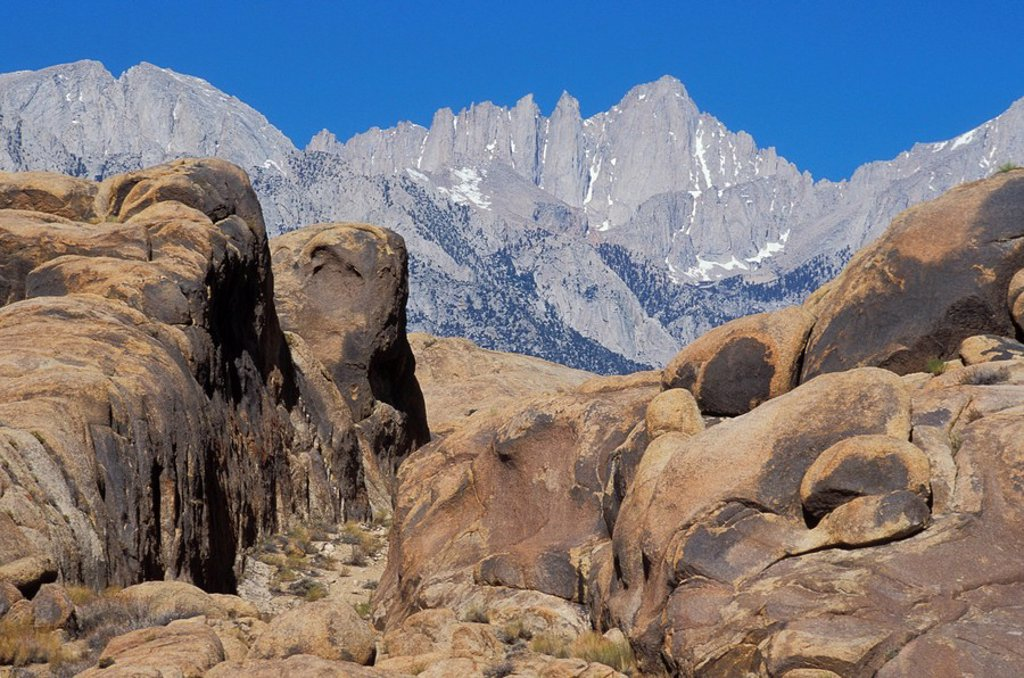 Stock Photo: 1990-30177 USA, California, Mt  Whitney, highest mountain in lower 48 states, from Alabama Hills, Owens Valley