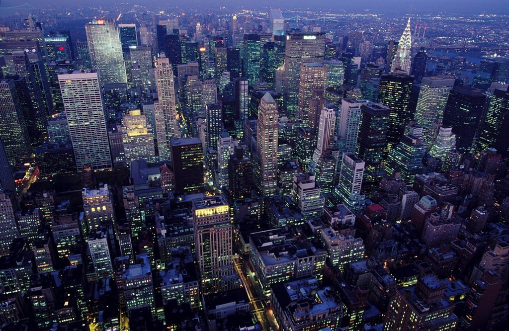 USA New York City, Lower Manhattan at dusk  View from Empire Sate Building : Stock Photo