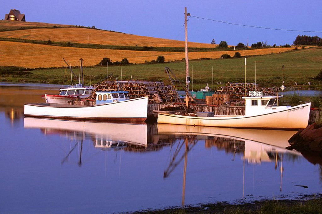 Fishing boats docked at wharf, French River, Prince Edward Island, Canada : Stock Photo
