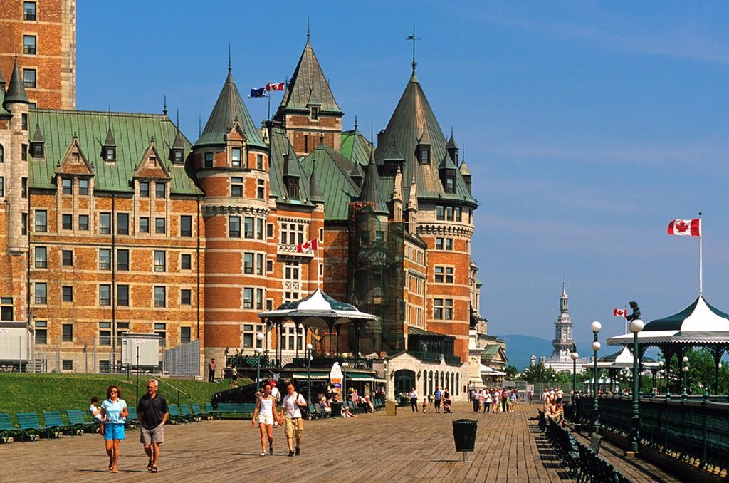 Dufferin Terrace, Le Chateau Frontenac, Quebec City, Quebec, Canada : Stock Photo