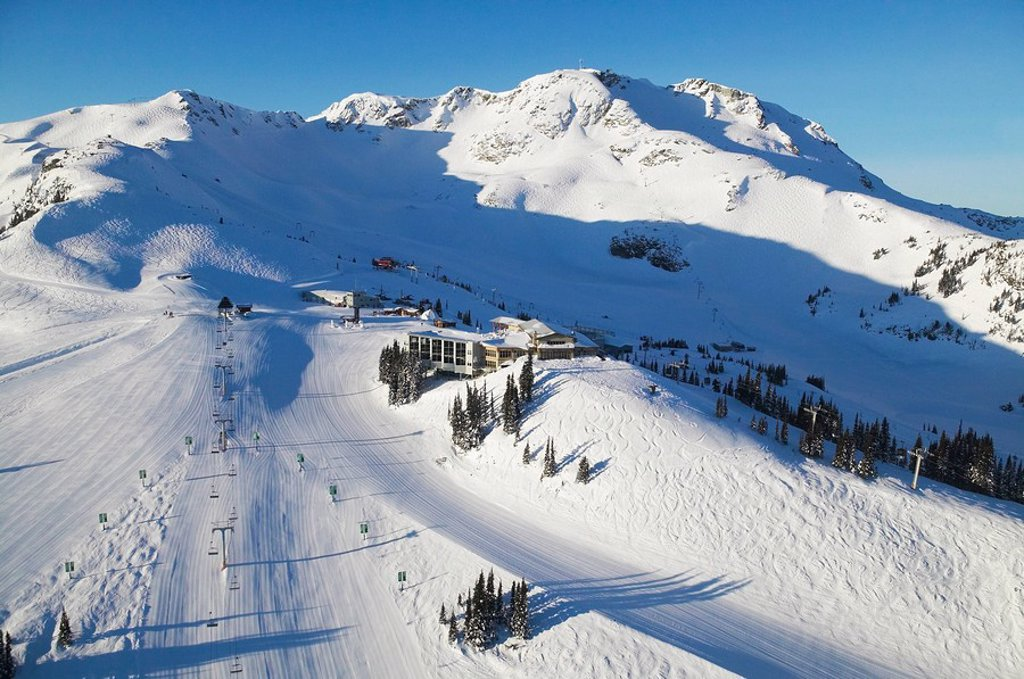 Stock Photo: 1990-3430 aerial of roundhouse lodge, whistler mountain, british columbia, Canada