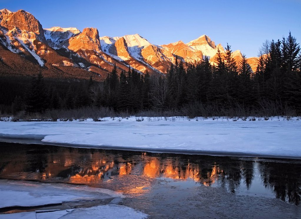 East End of Mount Rundle near Banff National Park, Alberta, Canada : Stock Photo