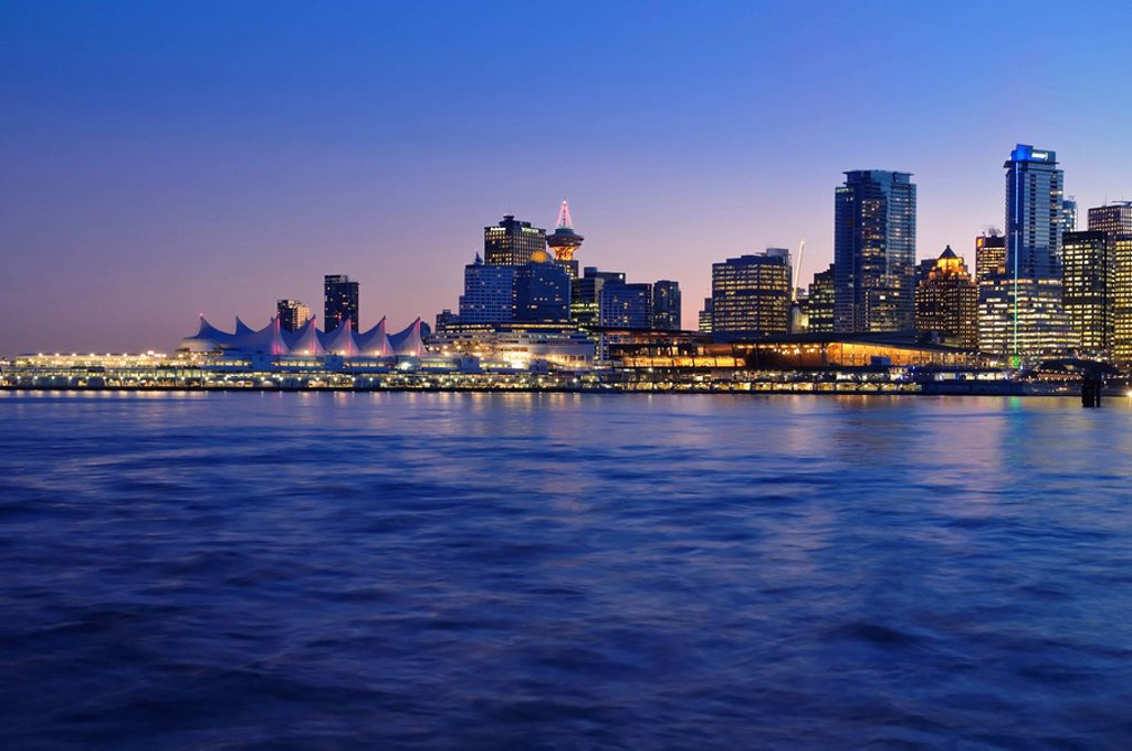 Vancouver skyline, Coal Harbour, Vancouver, British Columbia, Canada : Stock Photo
