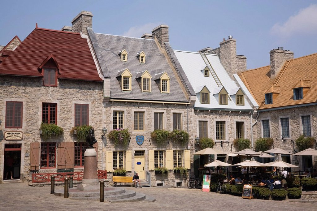 Tourists at an Outdoor Terrace in Summer at Place Royale in the Summer, Lower Town, Old Quebec City, Quebec, Canada : Stock Photo