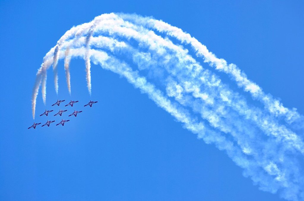 The Canadian Forces Snowbirds aerobatic team from Canada at Canadian International Air Show in Toronto : Stock Photo