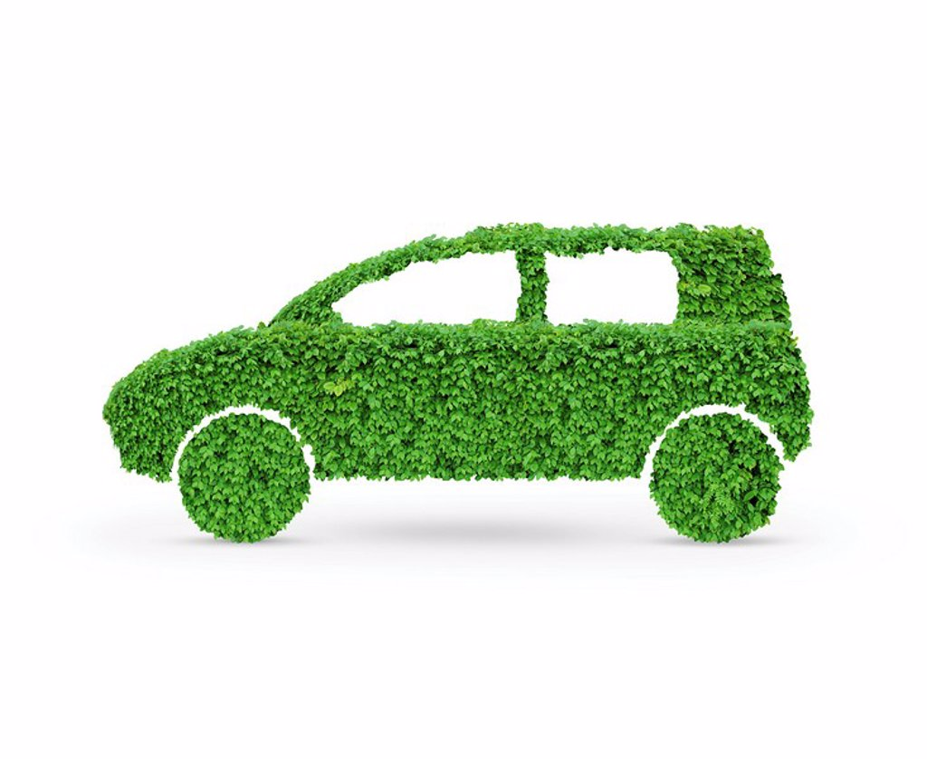 Stock Photo: 1990-35245 Green car. Automobile shape made from green leaves. Isolated on white background.