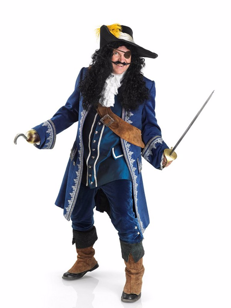 Stock Photo: 1990-35435 Laughing pirate with a sword and a hook isolated on white background