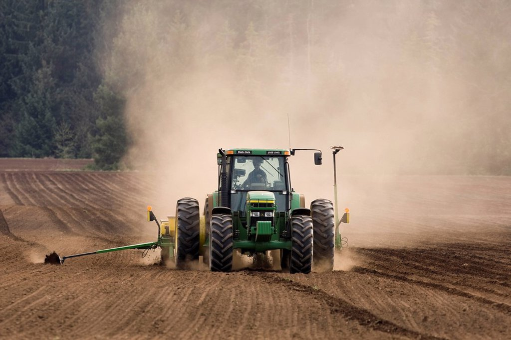 A farmer plants corn and fertilizes at the same time as his tractor maintains a straight and steady row. Courtenay, The Comox Valley, Vancouver Island, British Columbia, Canada. : Stock Photo