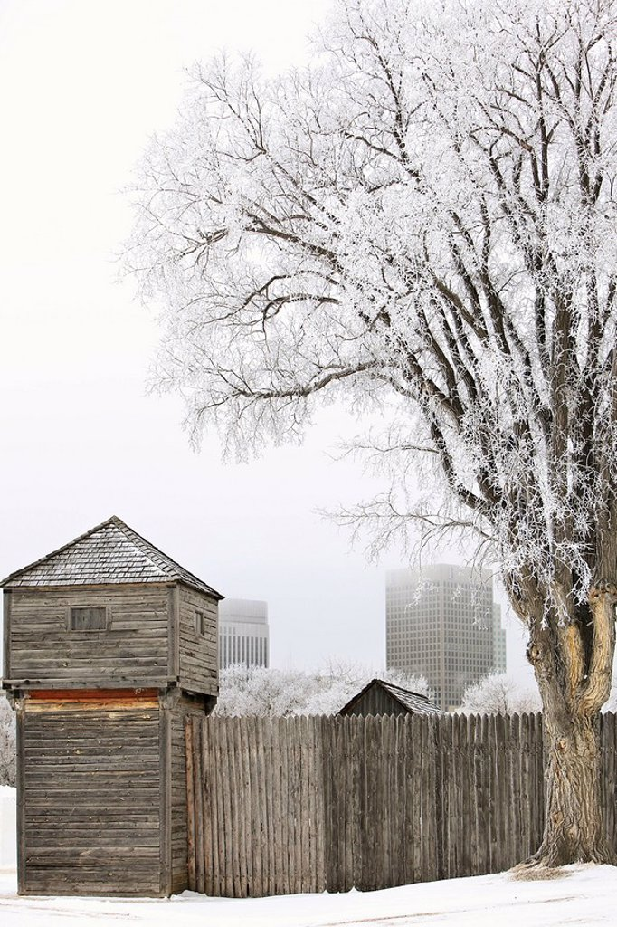 Fort Gibralter on a frosty winter day. Site of the Festival du Voyageur, Western Canada´s largest winter festival. Whittier Park, Winnipeg, Manitoba, Canada. : Stock Photo