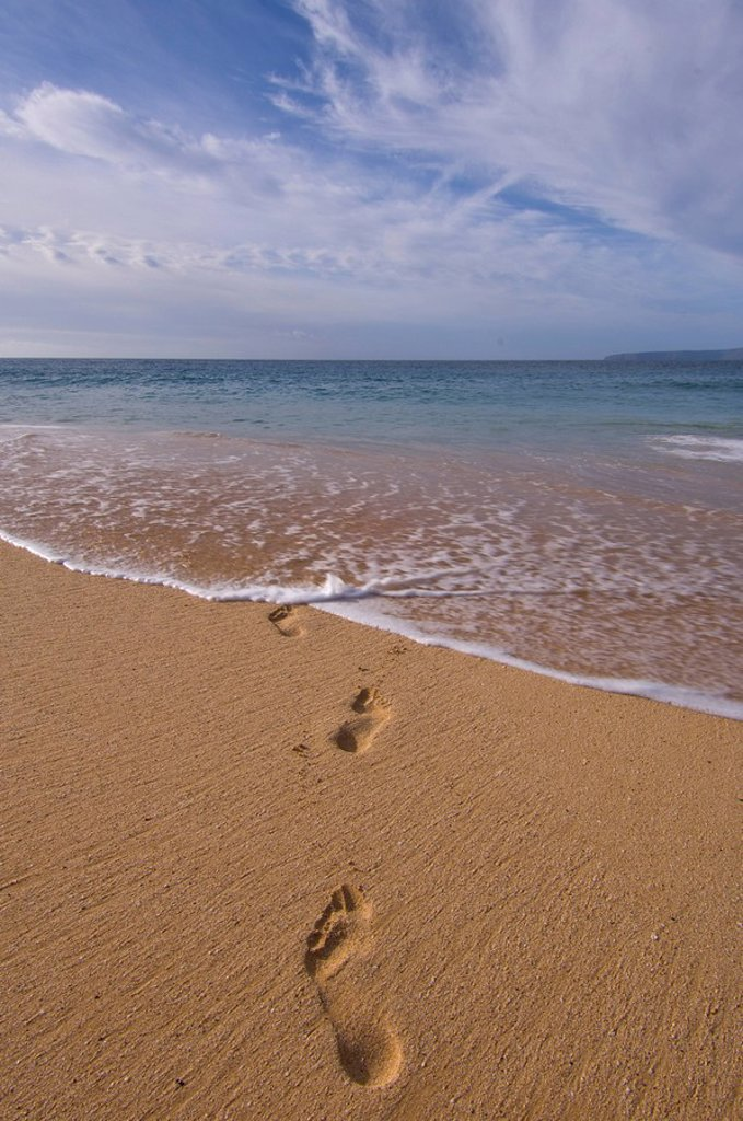 Footprints on Makena Beach or Big Beach, Maui, Hawaii, United States : Stock Photo