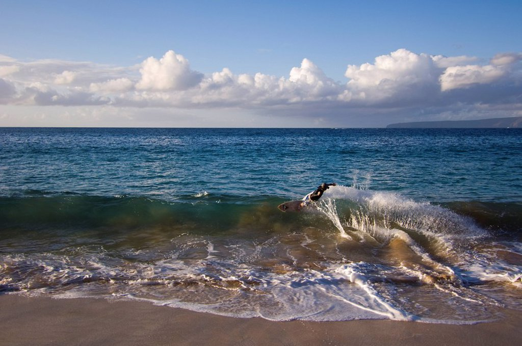 Surfer on Makena Beach or Big Beach, Maui, Hawaii, United States : Stock Photo