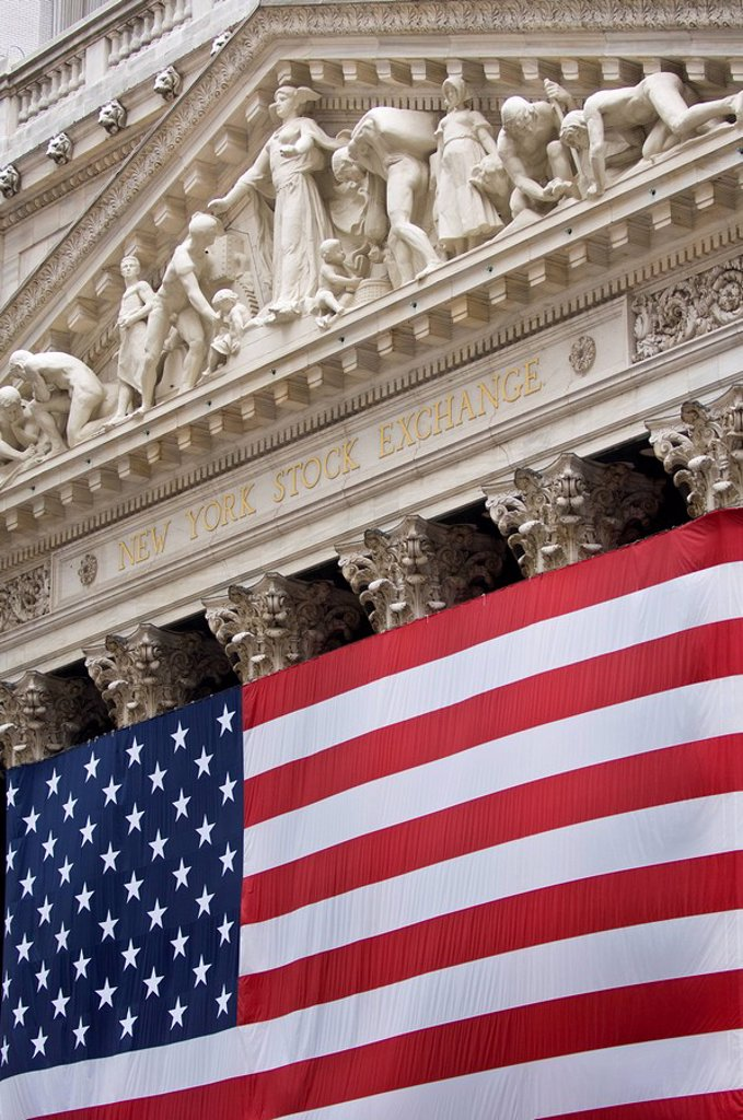 Stock Photo: 1990-35963 New York Stock Exchange with big US flag, Manhatten, New York City, United States