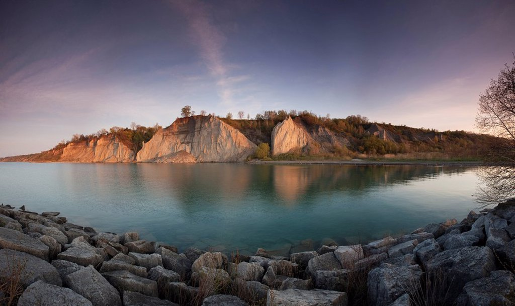 Panoramic image of Bluffers Park in the Scarborough Bluffs East Toronto, Ontario Canada created from digitally stitching together multiple images : Stock Photo