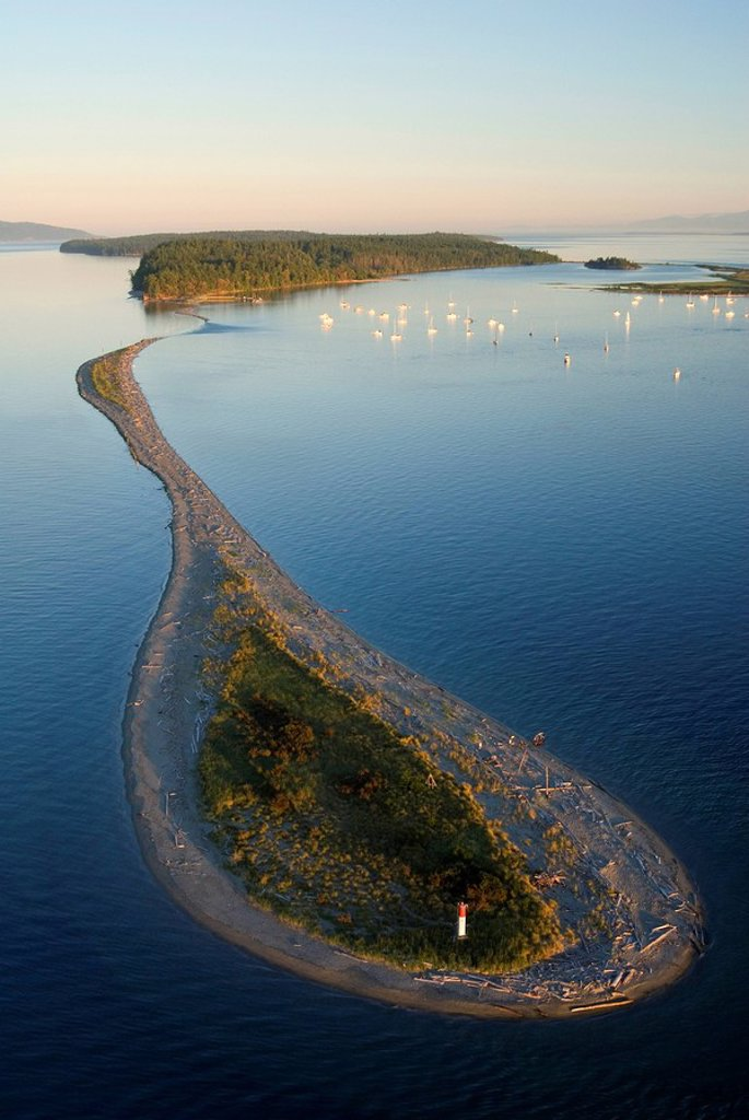 Lagoon and Spit on Sidney Island, Gulf Islands National Park Reserve, british columbia, canada : Stock Photo