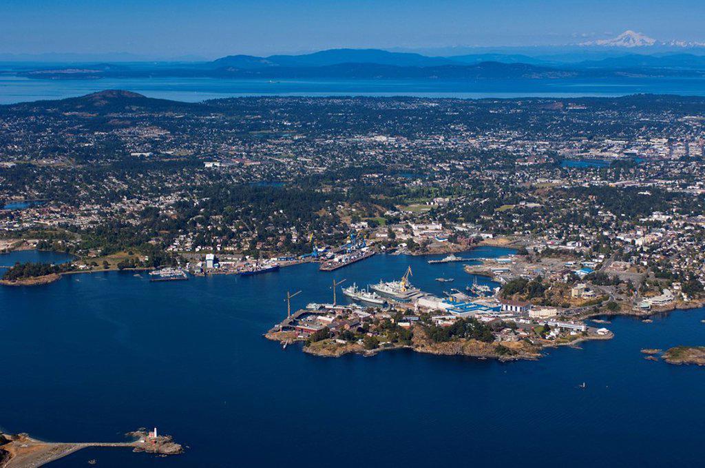 Aerial of Esquimalt Harbour, Fisgard Light in foreground, Victoria, British Columbia, Canada : Stock Photo