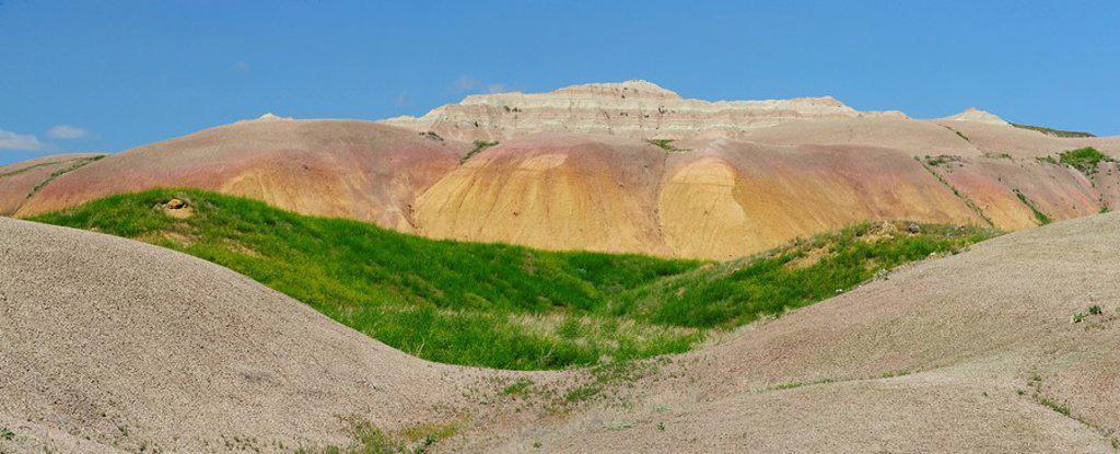 Stock Photo: 1990-38020 Paleosol mounds in Conata Basin. Badlands National Park, South Dakota, United States of America.