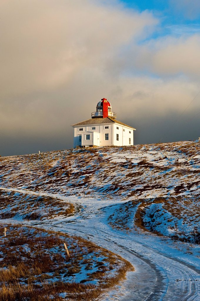 Lighthouse at Cape Spear National Historic Site in winter, Newfoundland and Labrador, Canada. : Stock Photo