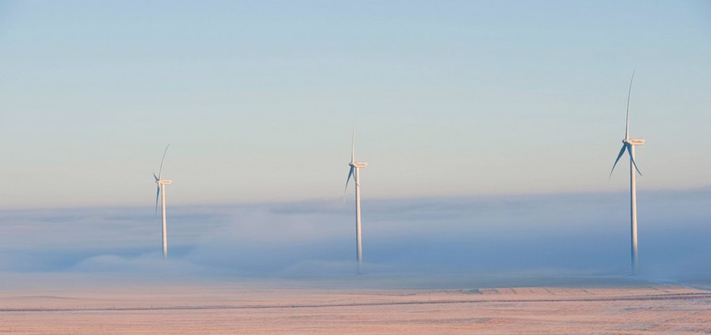 Wind turbine genertors near Fort McLeod Southwest Alberta Canada : Stock Photo