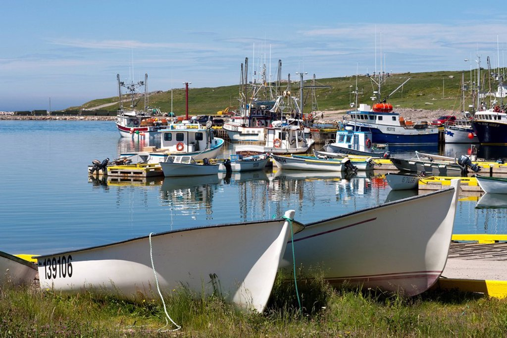 Stock Photo: 1990-38683 Fishing boats tied up at the wharf in Old Perlican, Newfoundland and Labrador, Canada.